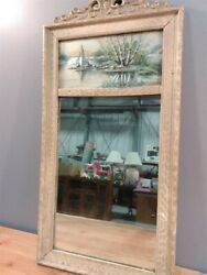 Antique Vintage Ornate Wood Frame 30 Wall Mirror W/sail Boat Art Picture Print