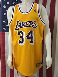 Vtg🔥 Nike Nba Los Angeles Lakers Authentic Shaquille O'neal Sewn Jersey Gold 48