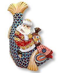 Russian Santa On Fish Unique Artwork Wood Handcarved Handpainted Father Frost