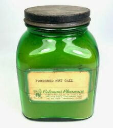 1940s Colemanand039s Pharmacy Green Glass Jar Nut Gall.owens Illinois Glass.duraglas