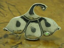 925 Sterling Silver Flowers Brooch With Opal Decorations / Real Silver/7 2g/48 3