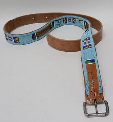 Antique Crow Beaded Harness Leather Tack Belt C. 1890-1900