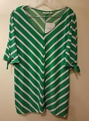 New WOMEN'S GREEN WHITE STRIPE TOP Large open arm tie sleeves St. Patrick's Day