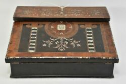 Antique 19th Century English Ladies Slant Front Lap Desk Brass And Mop Inlay