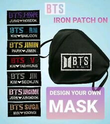 Face mask Reusable Washable 3D w KPOP BTS Iron Patch On CustomizeDesign Own $10.99