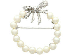 Pearl And 0.82ct Diamond And 14k White Gold Brooch - Vintage Circa 1950