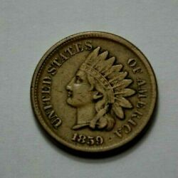 1859 Rare Key Date Indian Head One Cent, Coin , Penney, 1c