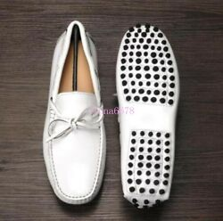 Mens Bowtie moccasin-gommino Soft Gold Slip On Loafers Pumps Driving Shoes Chic