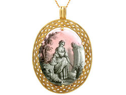 Antique French Painted Enamel And Mother Of Pearl, 18k Yellow Gold Pendant