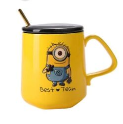 Lovely Yellow Minions Despicable Me Coffee Mug With Lidandspoon Ceramic Water Cups