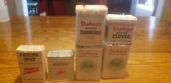 Vtg Lot Durkee's And French's Spice Seasoning Tins Cloves Turmeric Beef Steak More