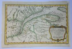 Xviiie Siecle Canada 1757 St Lawrence River By Nicolas Bellin Antique Map
