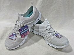 Skechers Womenand039s Glider Tuneful White/gray Slip On Athletic Shoes-asst Sizes Nwb