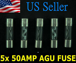 5pack 50 Amp Agu Fuse Fuses Nickel Plated Round Glass Fuse