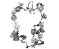 Rare Black Grey Resin Flower Stone Faux Pearl Long Necklace