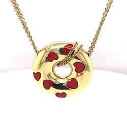 Jose Heiss Estate 18k Yellow Gold Bagle Shape Red Heart Pendant With Chain