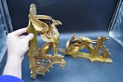 Pair Of Vintage Solid Bronze Griffin Wall Sconces - 13 1/2 Cu392 Chalice Co.