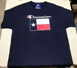 CHAMPION Navy Blue Texas Flag T-Shirt Men's Size Large $7.99