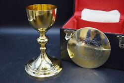 Antique Gold Plated Knights Of Columbus Chalice And Paten All Sterling Jc89
