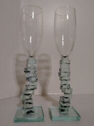 Exclusive Two Hand Crafted WINE GLASSES Signed P.JACOB RARE