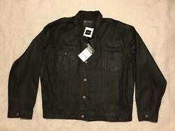 New Vtg 90s Usa Guess Jeans Jacket Coated/treated Cotton Black 3xl Tags Rare