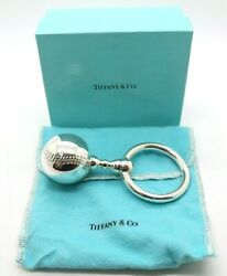 And Co Silver Baseball Baby Rattle Teether Rare Vintage