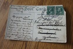 1912 Fountain Catskills New York With Two 1 Cent Benjamin Franklin Green Stamps