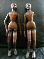 13.5 Antique Wooden Pair Articulated Artists Model Mannequin Lay Figure C.1860