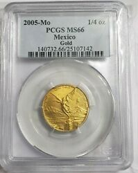 2005 1/4 Oz Gold Mexican Libertad Ms66 Coin 500 Minted