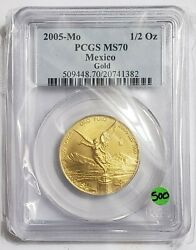 2005 1/2 Oz Gold Mexican Libertad Ms70 Coin, 500 Minted