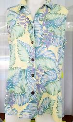 Bungalow Brand Shirt Top Tropical Leaves Bark Cloth  Fabric Women's LG Cute! $9.99