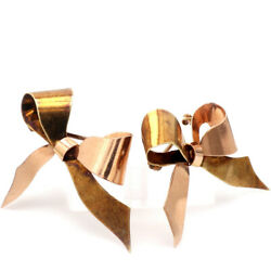 Vintage 1950's And Co. 14k Two-tone Gold Set Of Bow Pins