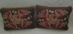 Decorative Floral Needlepoint Tapestry Pillows Pair *Free Shipping*