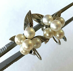 Designer Sterling 925 Floral Etched Freshwater Pearl Ladies Clip On Earrings
