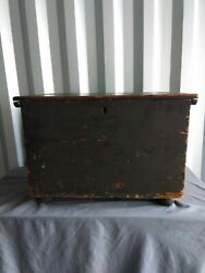 Antique Late 18th Early 19th C. Pine Box Old Paint Rose Head Nails Nice Patina