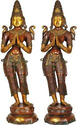 Large Size Indian Celestial Welcome Lady Pair Flanking Temple Door Décor 45