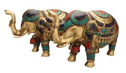 Feng Shui Brass Animal Statue India Figurine Turquoise Coral Elephant Pair 15