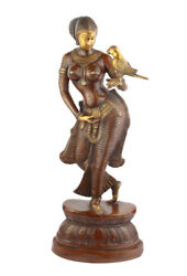 Indian Handicraft Home Room Decor Lady With Bird In Hand Showpiece Large 33