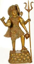Antique Rare Bronze Indian Hindu God Lord Shiv Ji Standing With Trident 27