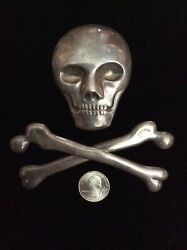 Early Coin Silver 19th. Century Skull And Crossbones Masonic Emblem