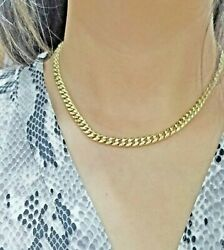 10k Gold Chain Ladies Real Miami Cuban Necklace 18inch Box Clasp Strong Link 6mm