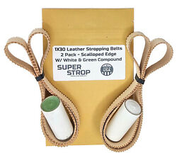 1x30 Super Strop Scalloped Edge Leather Honing Polishing Belt 2 Pack And Compound