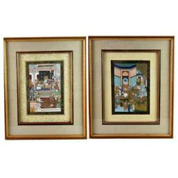 Persian Paintings School Gouache On Silk Paintings Professional Framed Two X 2