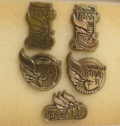 5 Kentucky Derby Gold Pegasus Festival Pins Instant And Returns 1990, 1991 And 1992