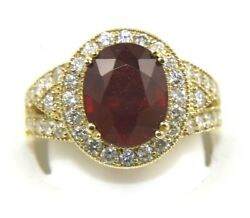 Natural Oval Red Ruby And Diamond Halo Solitaire Ring 14k Yellow Gold 6.31ct