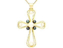 Vintage 1970s Pearl And 18k Yellow Gold Cross Pendant Length 18
