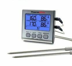 Food Grill Thermometer Timer Tp17 Dual Probe Large Lcd Backlight Bbq Smoker Oven