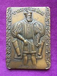 Beautiful Antique And Rare Bronze Medal Of The Fifth Viceroy Of India 1550-1554