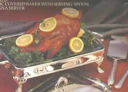Paul Revere Silver Plated 2qt Classic Baker And Serving Spoon And Lasagna Server New