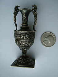 Antique Continental Solid Silver Miniature Ornate Vase With Horses On Handles